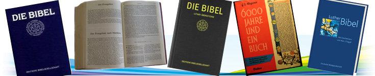 Bild: Collage aus verschienen Abbildungen von Bbel und Buch über die Entstehung der Bibel; Quelle: Collage: Annette Wohlfeil